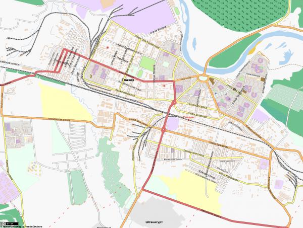 Карта Глазова