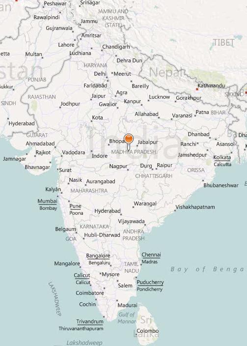 Карта городов Индии на английском языке
