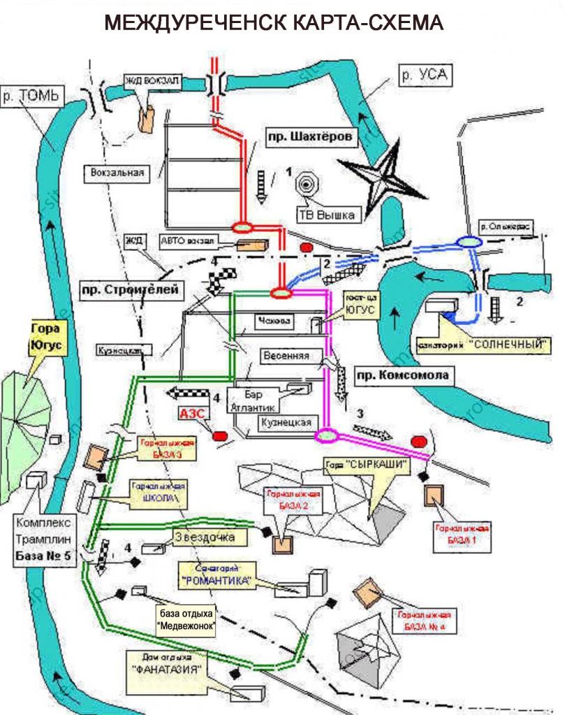 Карта Междуреченска туристическая