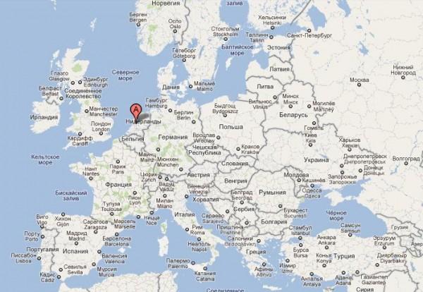 Голландия на карте Европы