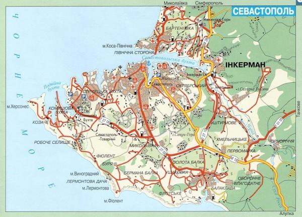 Карта Севастополя схематичная
