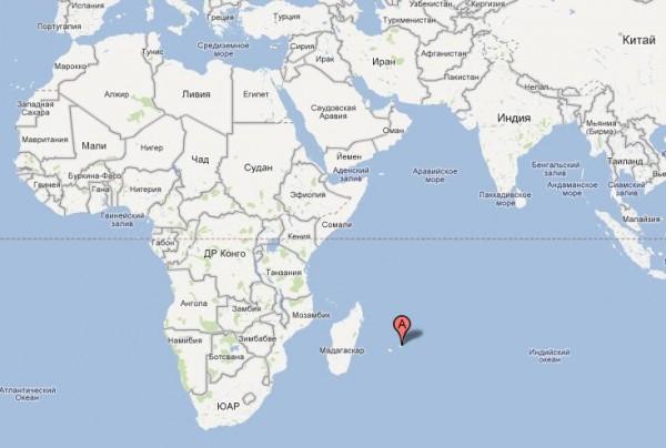 Остров Маврикий на карте