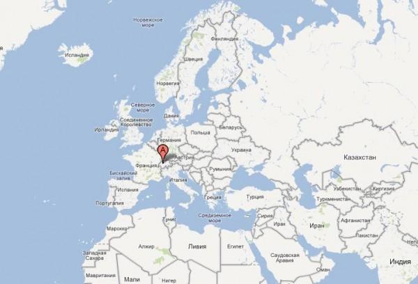 Швейцария на карте Европы