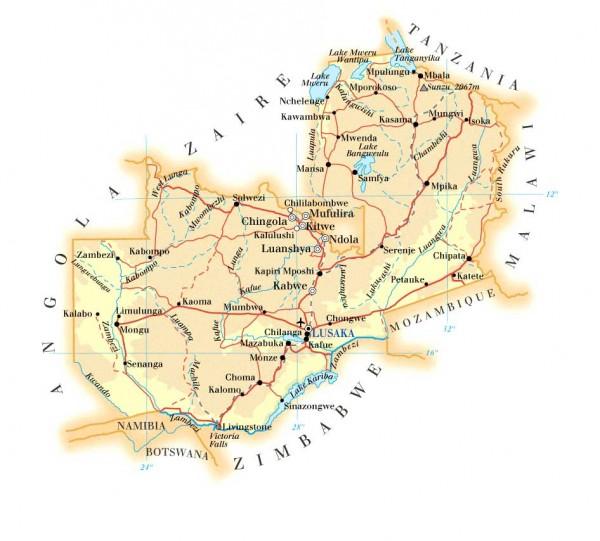 Карта Замбии автомобильная