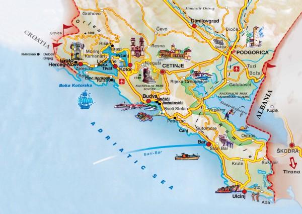 Черногория. Карта побережья туристическая