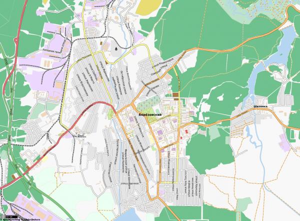 Карта города Берёзовский