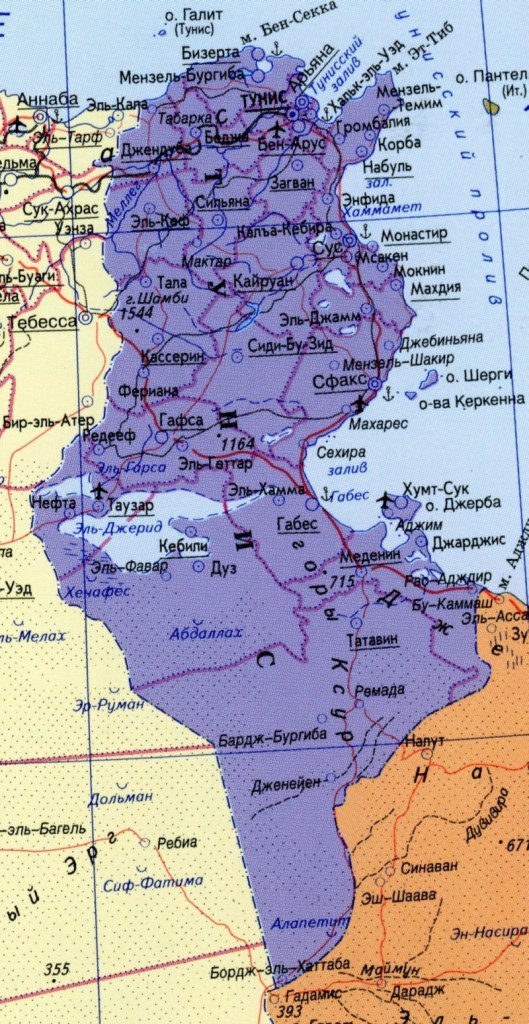 Карта Туниса на русском языке