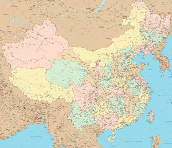 Карта Китая подробная с городами и дорогами