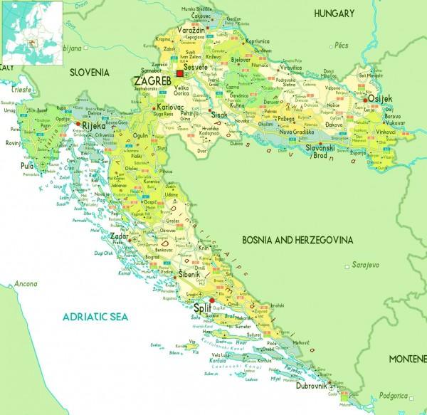 Хорватия. Карта побережья