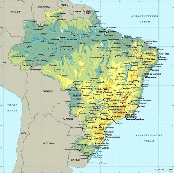 Карта Бразилии на русском языке