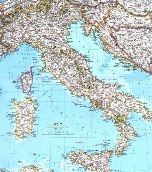 Карта дорог Италии подробная