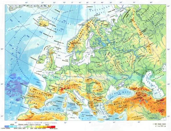 Карта Европы на русском языке топографическая
