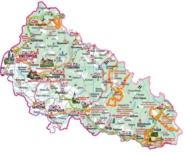 Карта горы Карпаты Достопримечательности