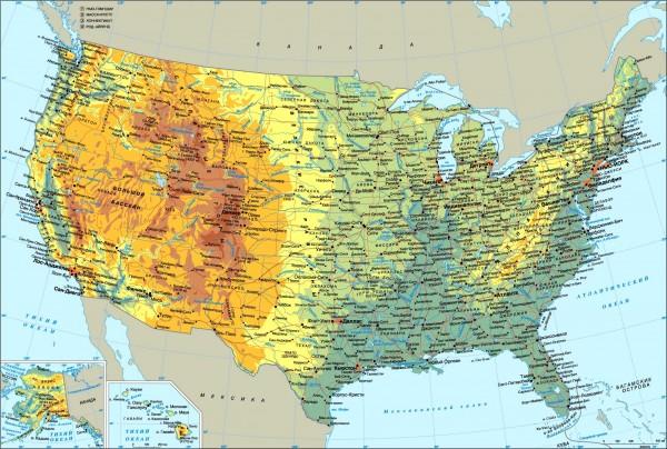 Карта северной Америки на руссском