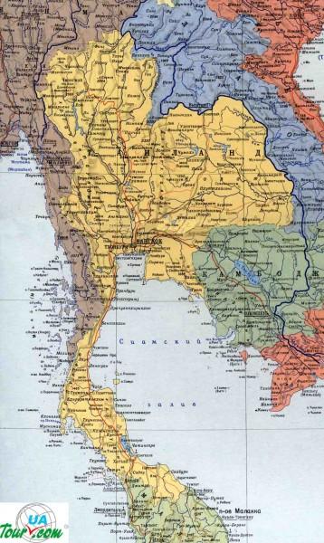 Карта Таиланда на русском города дороги