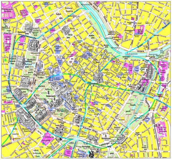 карта Вены туристическая