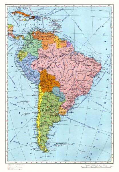 Карта южной Америки на русском языке