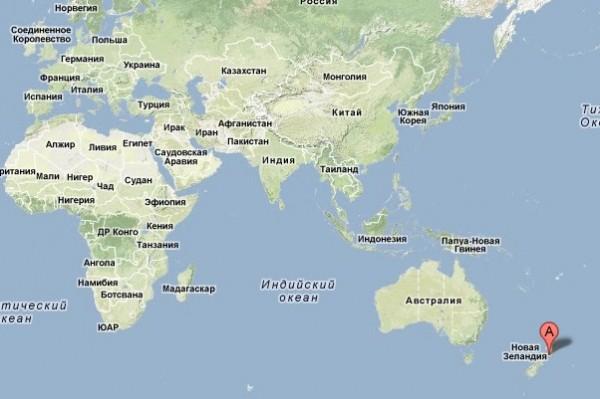 Новая зеландия на карте мира где находятся