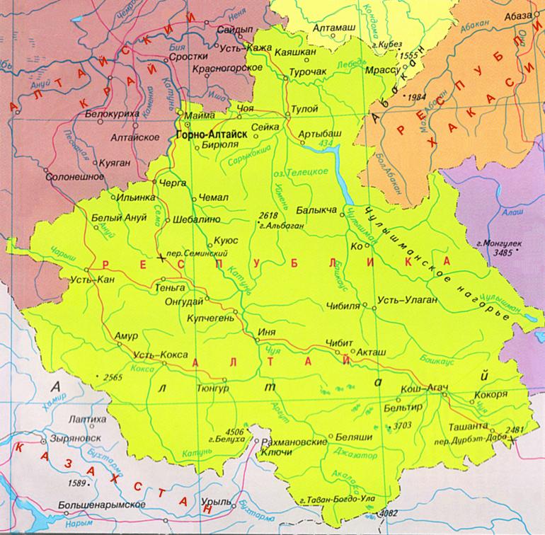 Карта городов алтая