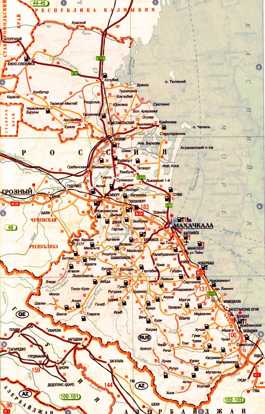 Карта Дагестана.  Подробная схема автомобильных дорог республики Дагестан.