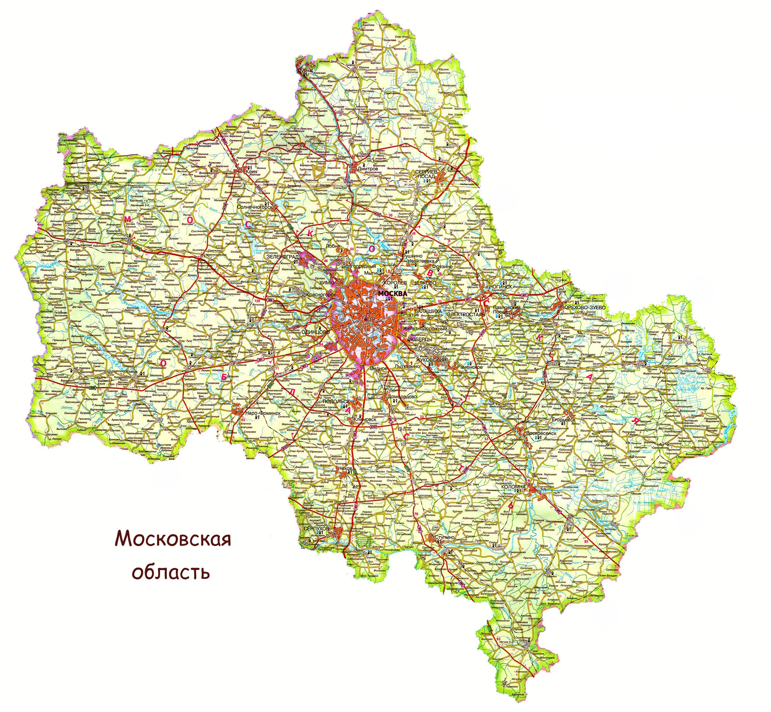 Карта Куровского подробная: районы, названия улиц
