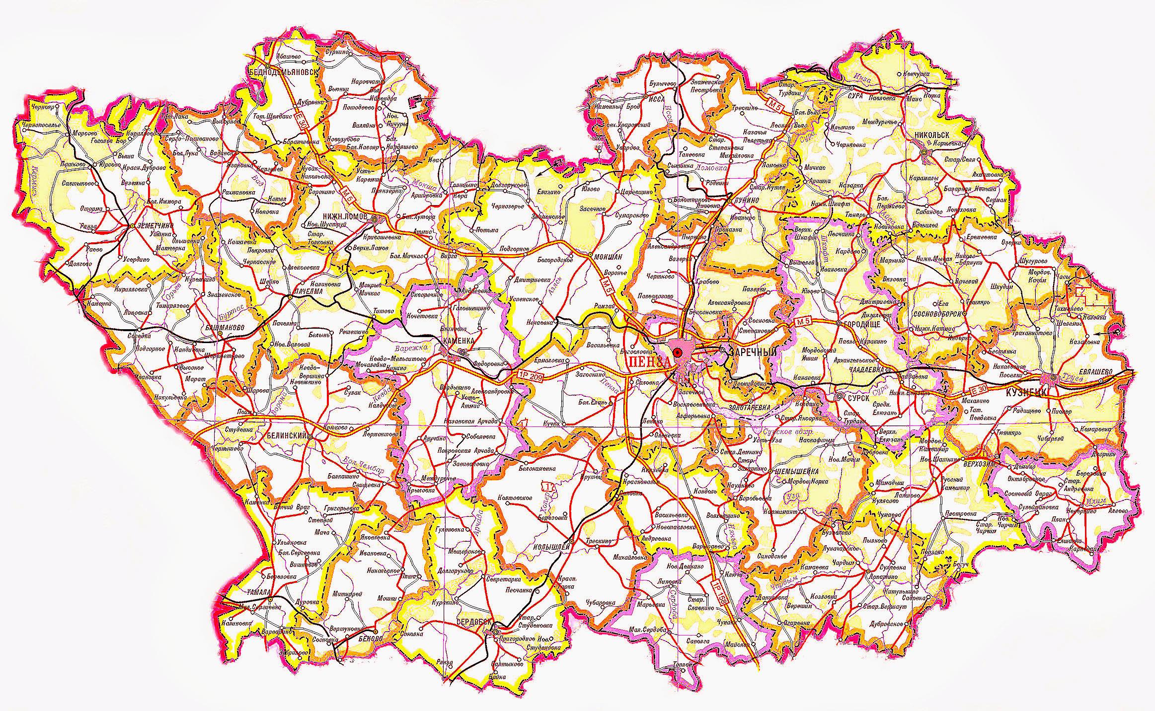 Карты городов пензенской области