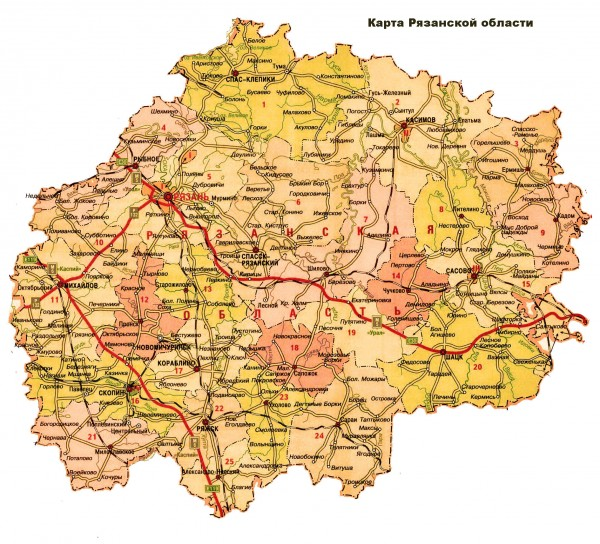 Карты городов Рязанской