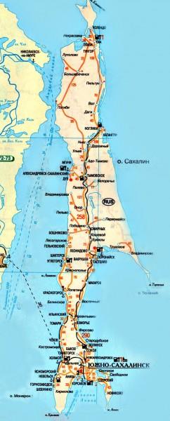 Подробная карта схема автомобильных дорог Сахалинской области - остров Сахалин.