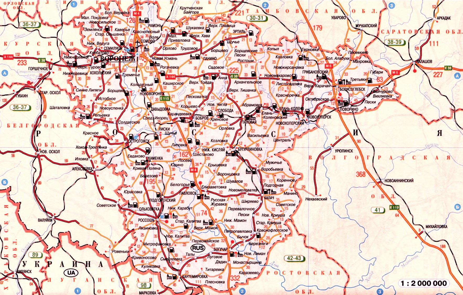 Карта схема автомобильных дорог Воронежской обл России масштаба 1см:20км.