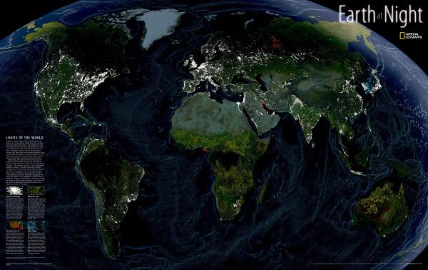 Ночная карта мира от National Geographic