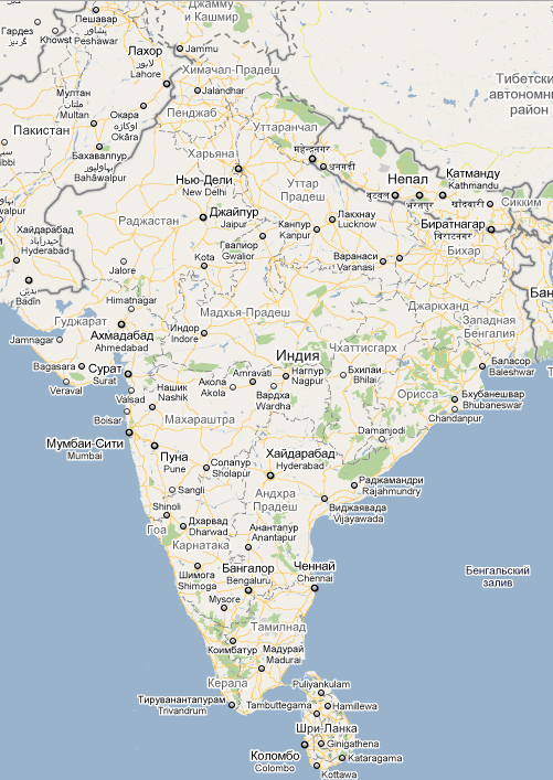Karta Gorodov Indii