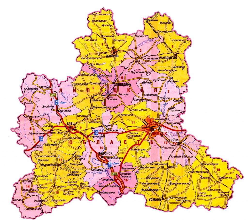 картинки карт липецкой области источники