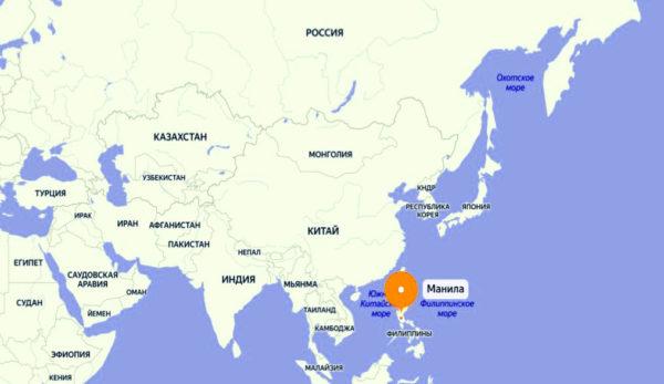 Где находится Манила на карте мира